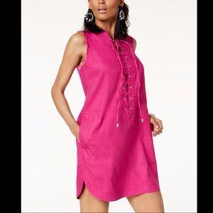 Pink Trina Turk X I.n.c. Linen Blend Lace-up Dress